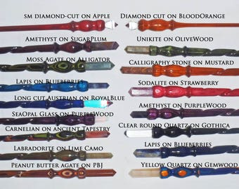 """Crochet hook Wand, 8"""" , Crystal end, hand spiral turned colored wood. Ships faster if store selects colors ."""