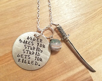 The Walking Dead inspired- Michonne hand stamped necklace