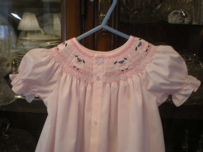 942983e25 Smocked day gown newborn baby infant girl pink sheep   Etsy