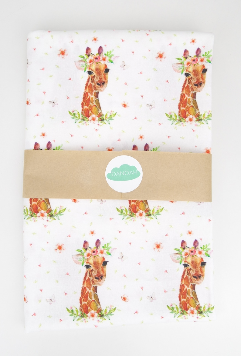 Girl Giraffe Fitted CotCrib sheet or Change Table Cover