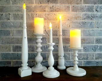 SALE  Candle Holders, White, Distressed Candle Stands, Set of 5 Wood Candle Keepers, Rustic Farmhouse Décor