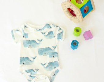 001e43f39 organic baby bodysuit, whale Onesie®, coming home outfit in ocean print,  hipster baby, organic Onesie®, ocean baby, baby boy onesie