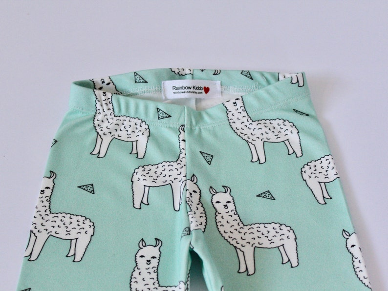 Organic Baby Leggings  Toddler pants Baby Leggings Llama Alpaca Baby Clothes Organic Infant Leggings Alpaca Mint Llama Toddler Pants