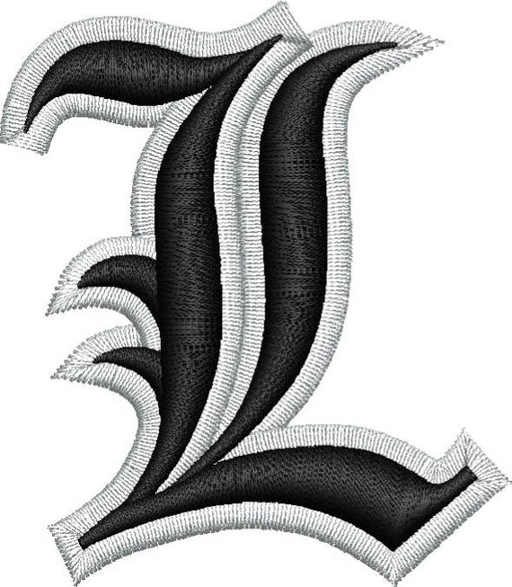 Old English Letter L Puff Embroidery Design   Etsy