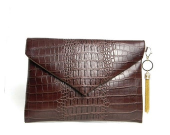 Burgundy Garnet Croc-Leather Envelope Clutch Bag