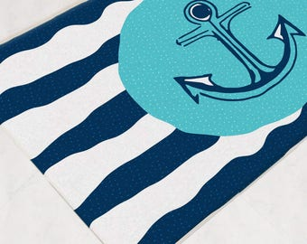 Nautical Bath Mat, Aqua Bathroom Decor, Anchor Bath Rug, Navy Bathroom  Decor, Kids Bath Mat, Bathroom Mat, Shower Mat, Nautical Bathroom
