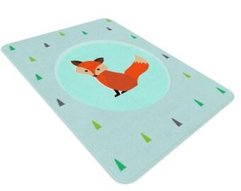 Fox Rug Woodland Nursery Woodland Rug Kids Rug Nursery Etsy