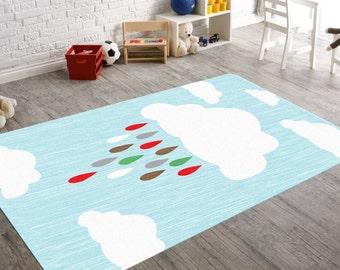 Boy Nursery Decor, Cloud Decor, Cloud Nursery, Neutral Nursery Decor,  Nursery Rug, Rain Drop, Playroom Decor, Playroom Rug, Kids Room Decor