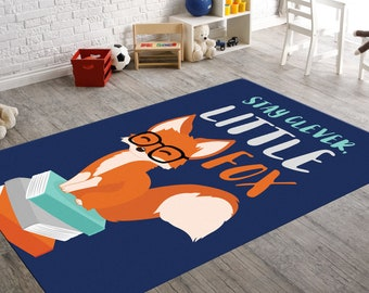 Reading Rugs, Fox Rug, Stay Clever Little Fox, Reading Decor, Reading Room  Decor, Kids Room Rug, Playroom Rug, Nerd Gift, Reading Gifts
