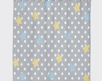 Polka Dot Shower Curtain Blue And Yellow Star Grey Kids Bathroom Decor Teen Gray