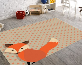 Beautiful Fox Rug, Woodland Nursery, Woodland Rug, Kids Rug, Nursery Rug, Playroom Rug,  Kids Bedroom Decor, Woodland Animals, Childrens Rugs, Red Fox