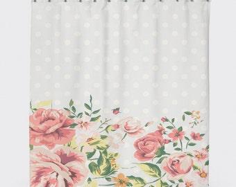 Shabby Chic Shower Curtain, Polka Dot Shower Curtain, Shabby Chic Floral,  Shabby Chic Bathroom Decor,Shower Curtain Floral, Country Bathroom
