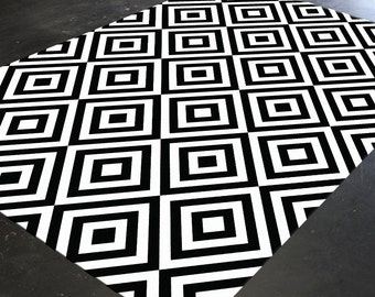 Black And White Rug, Geometric Rug, Monochrome Rug, Area Rug 5x8, Geometric  Pattern, Living Room Rug, Mid Century Modern, Abstract Rug, Rug