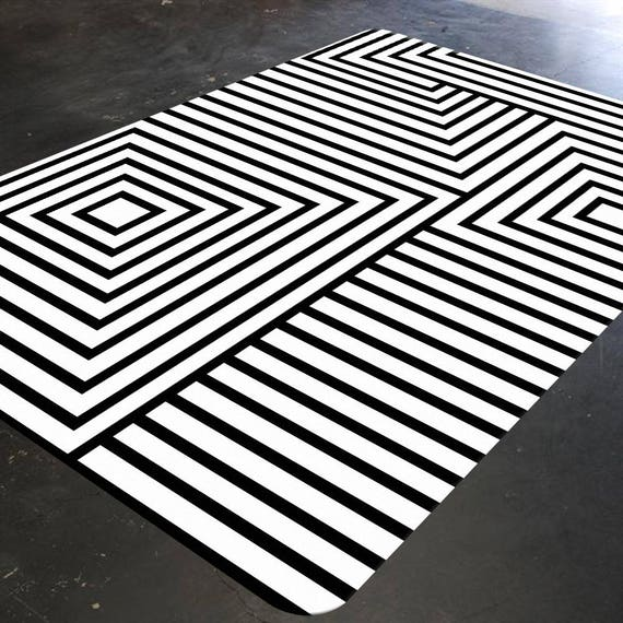 Black And White Rug Geometric Rug Mid Century Modern Rug Etsy
