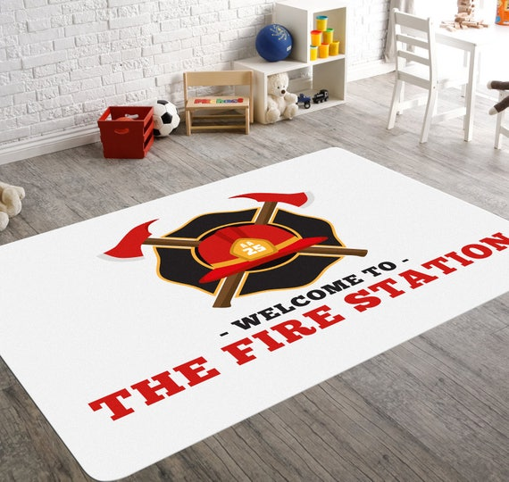 Firefighter Nursery Playroom Rug Fire Station Childrens Etsy