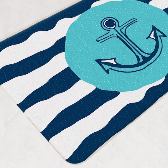 Nautical Bath Mat Aqua Bathroom Decor Anchor Bath Rug Navy | Etsy