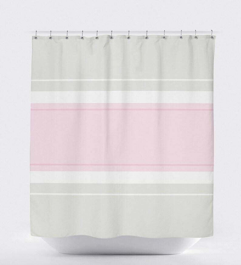 Minimalist Shower Curtain Pink Striped