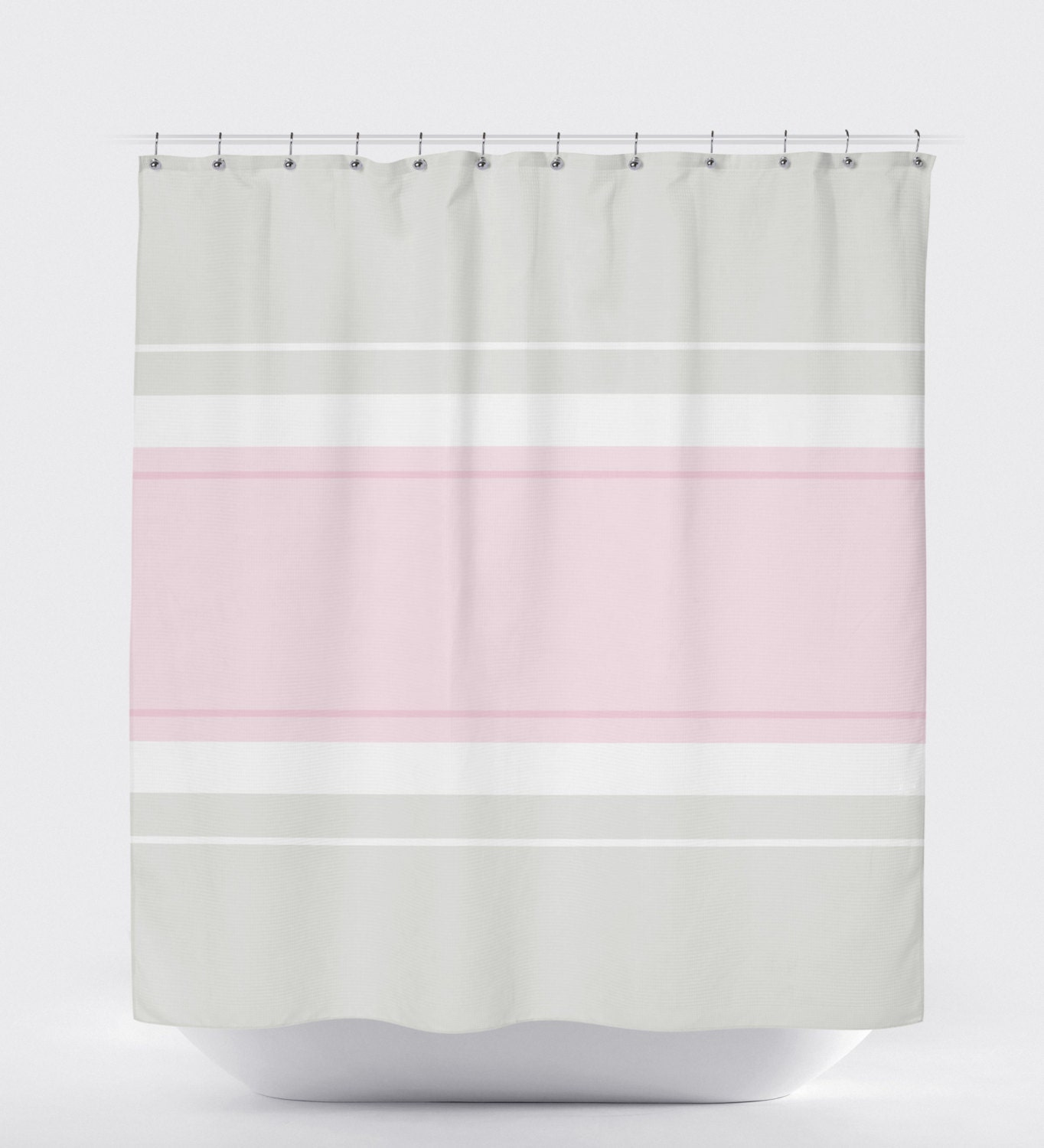 Minimalist Shower Curtain Pink Shower Curtain Striped Shower Curtain Gray Bathroom Decor Gray Bathroom Decor Modern Shower Curtain