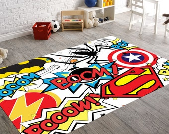Good Superhero Rug, Playroom Rug, Superhero Room Decor, Kids Playroom Decor,  Geek Home