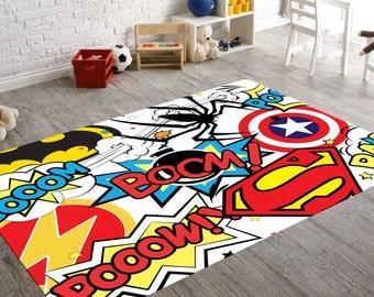 Superhero Rug, Playroom Rug, Superhero Room Decor, Kids Playroom Decor, Geek Home Decor, Teen Room Decor, Comic Book Art, Superhero Nursery