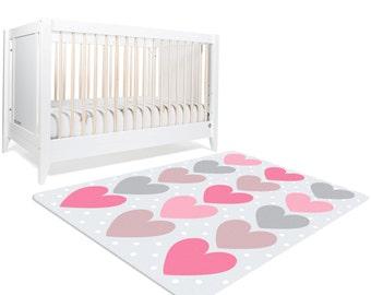 Nursery Area Rug, Polka Dot Rug, Pink Hearts Rug, Grey and Pink Nursery, Pink Nursery Decor, Kids Floor Rugs, Polka Dot Nursery, Grey Pink