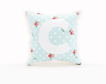 Polka Dot Pillow Cover, Floral Pillow Cases, Monogram Pillow Case, Floral Pillow Cover, Personalized Pillow Cover, Custom Nursery Decor,