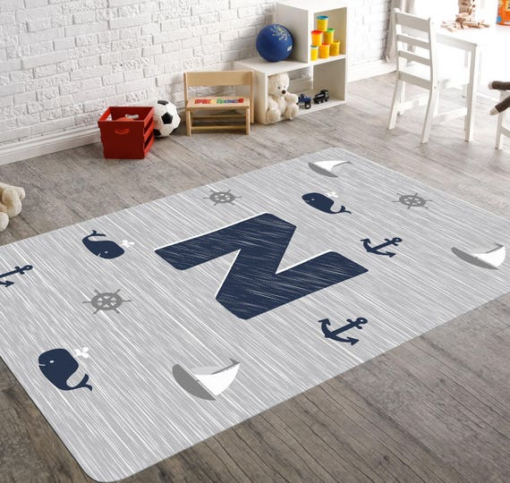 Nautical Rug Monogram Rug Nautical Nursery Navy And Grey Etsy