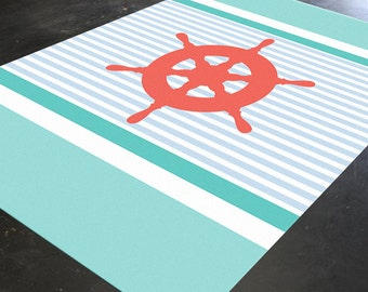 nautical anchor nautical rug coral and turquoise decor