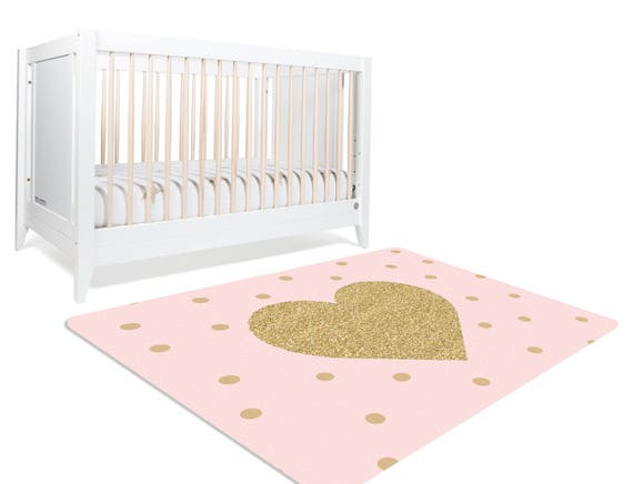 Heart Rug, Pink And Gold Room Decor, Playroom Rug, Pink Gold Nursery, Girls  Bedroom Decor, Playroom Decor, Gold Nursery Decor, Nursery Rug