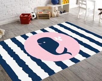 Whale Rug, Fish Rug, Kids Rug, Whale Decor, Nursery Rug, Pink Nursery, Navy Blue Nursery Decor, Nautical Nursery Decor, Nautical Rug, Rugs