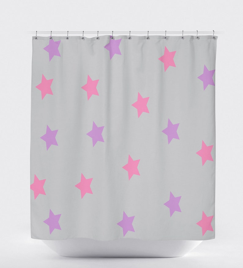 Star Decor Gray Shower Curtain Purple Pink