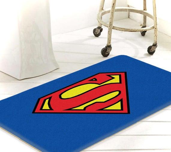 Superman Bathroom Bath Mat Superhero Bathroom Justice Etsy
