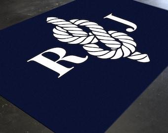 Monogram Rug, Nautical Rug, Sailor Knot, Navy Blue Rug, Monogram Nursery, Nautical Nursery Decor, Personalized Rug, Beach Nursery Decor, Rug