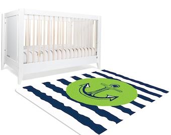 Nautical Rug, Nautical Nursery Decor, Nautical Nursery, Anchor Decor, Anchor Rug, Rugs for Nursery, Navy Green Nursery, Kids Room Rugs, Navy