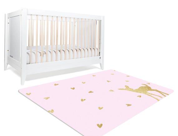 Fawn Nursery Woodland Rug Deer Rug Baby Girl Woodland Etsy