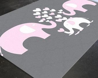Elephant Rug, Elephant Nursery Rug, Elephant Decor, Pink Elephant Nursery, Nursery Elephant Decor, Elephant Art, Pink And Grey Nursery Decor