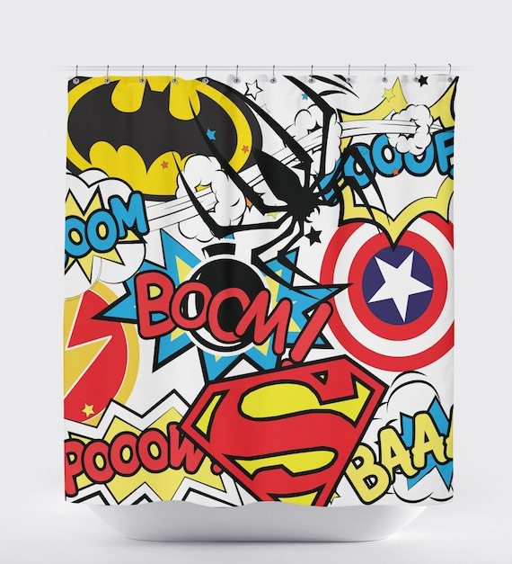 Superhero Shower Curtain Bathroom Marvel Room