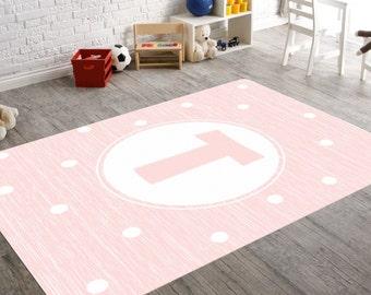 Pink Nursery Rug, Monogram Rug, Personalized Rug, Girl Nursery Rug, Monogrammed Gifts, Playroom Rug, Pink Nursery, Kids Playroom Decor, Baby