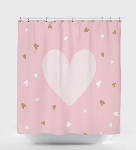 Shower Curtain Pink Heart Decor Girls