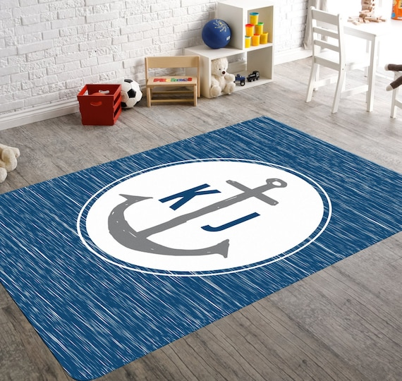 Nautical Rug Nautical Nursery Decor Monogram Anchor Anchor Etsy