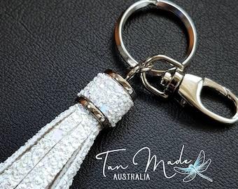 Silver Keyring Bling with Ice White Glitter Tassels. Keyring Tassel / Bag Bling / Purse Charm. Handmade. High Quality.