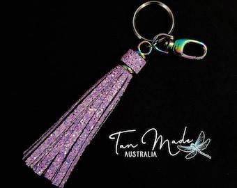 Keyring Bling with Pixie Dust Glitter Tassels. YOUR CHOICE Hardware - Rainbow, Silver, Gunmetal. Key Charm. Bag Tassel. Pink Purple