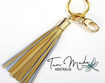 Gold Keyring Bling with Metallic Gold Leather Tassels. Keyring Tassel / Bag Bling / Purse Charm. Handmade. High Quality.