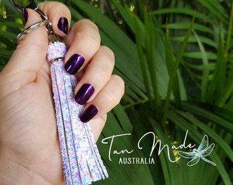 Silver Keyring Bling with Unicorn Dust Glitter Tassels. Keyring Tassel / Bag Bling / Purse Charm. Handmade. High Quality.