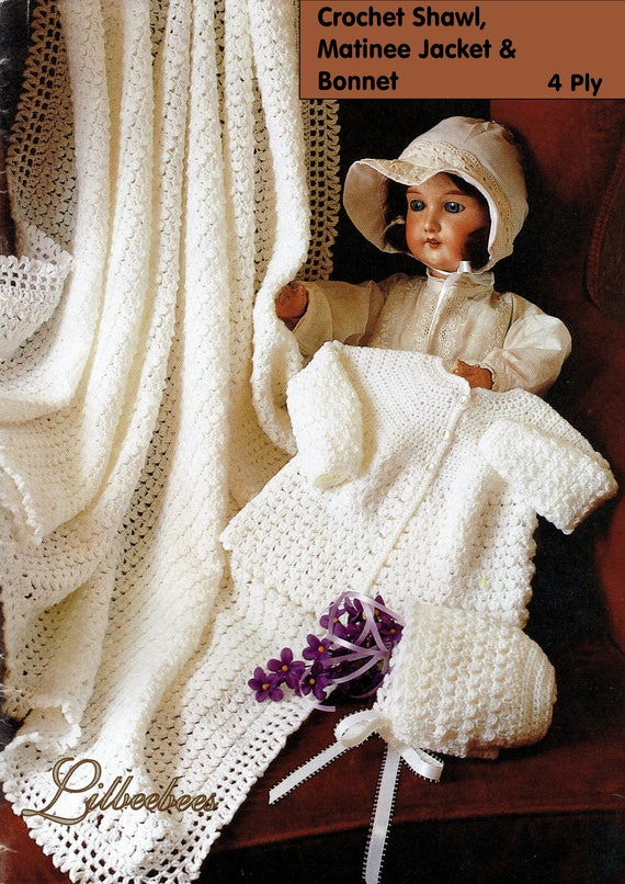 """MATINEE COAT BONNET 18/"""" CROCHET PATTERN BABY SHAWL BOOTEES IN 4-PLY 14/"""""""
