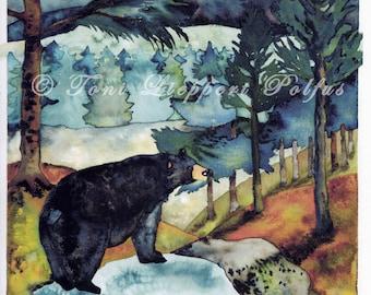 "Black Bear Painting, 8"" x 10"" reproduction of original watercolor painting, bear artwork, northwoods art, forest landscape, cabin decor"
