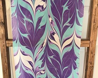 Handmade Water-marbled Silk Scarf - purple / lavender / teal / white