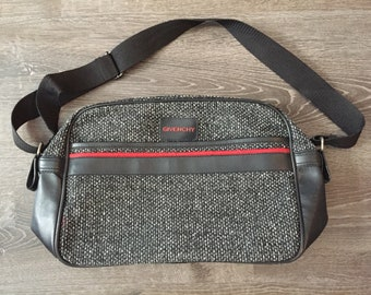 bfea7b4aed1b Vintage Givenchy Tweed and Faux Leather Travel Bag cross bodybag fanny pack  shoulder bag gym bag