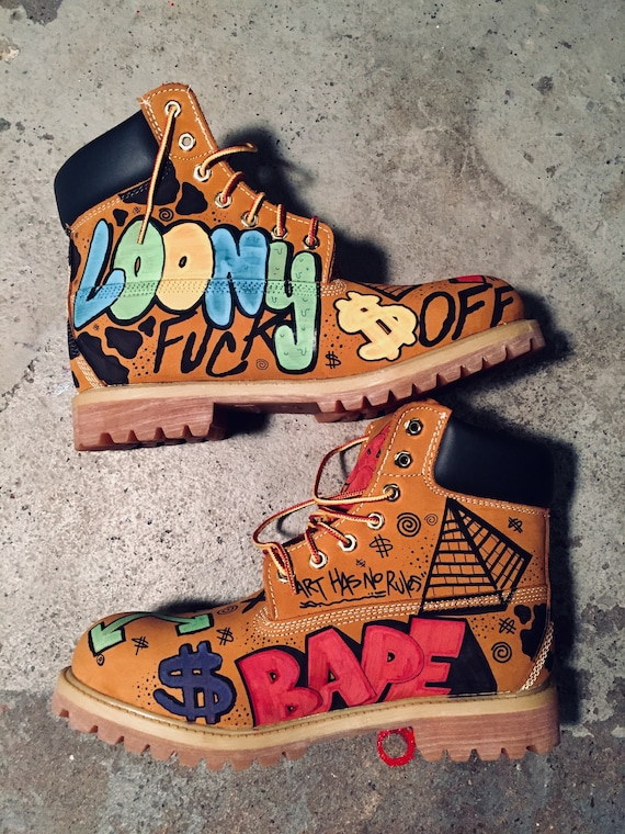 Timberland Boots Custom Unisex Hand Painted Sneakers Shoes Etsy