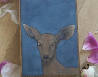 """Original Watercolor """"Melanisim"""" - Melanistic Fawn Watercolor Painting"""